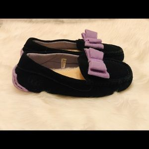 UGG Purple Bow and Black Slippers kids size 3